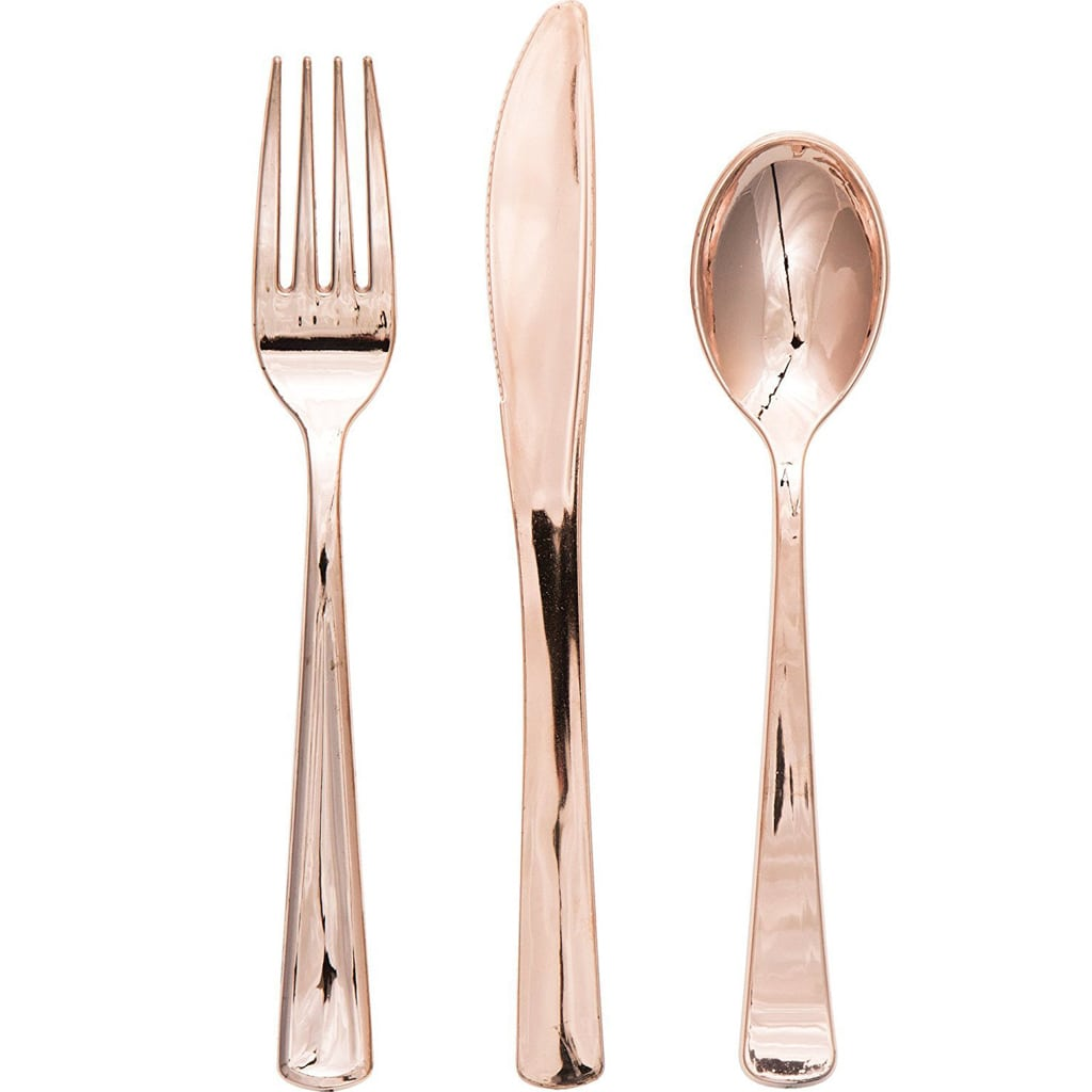 Metallic Plastic Assorted Cutlery, Rose Gold