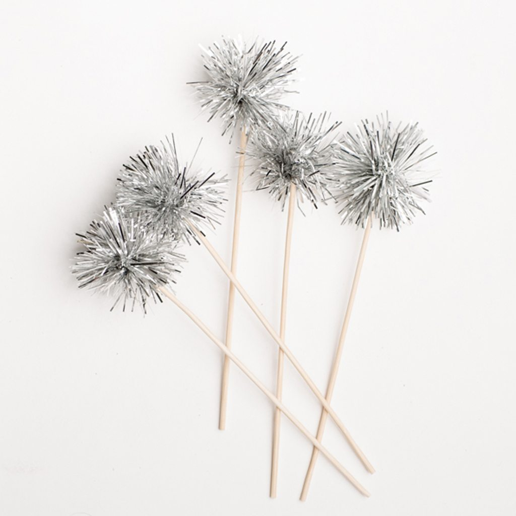 silver sparkle swizzle sticks
