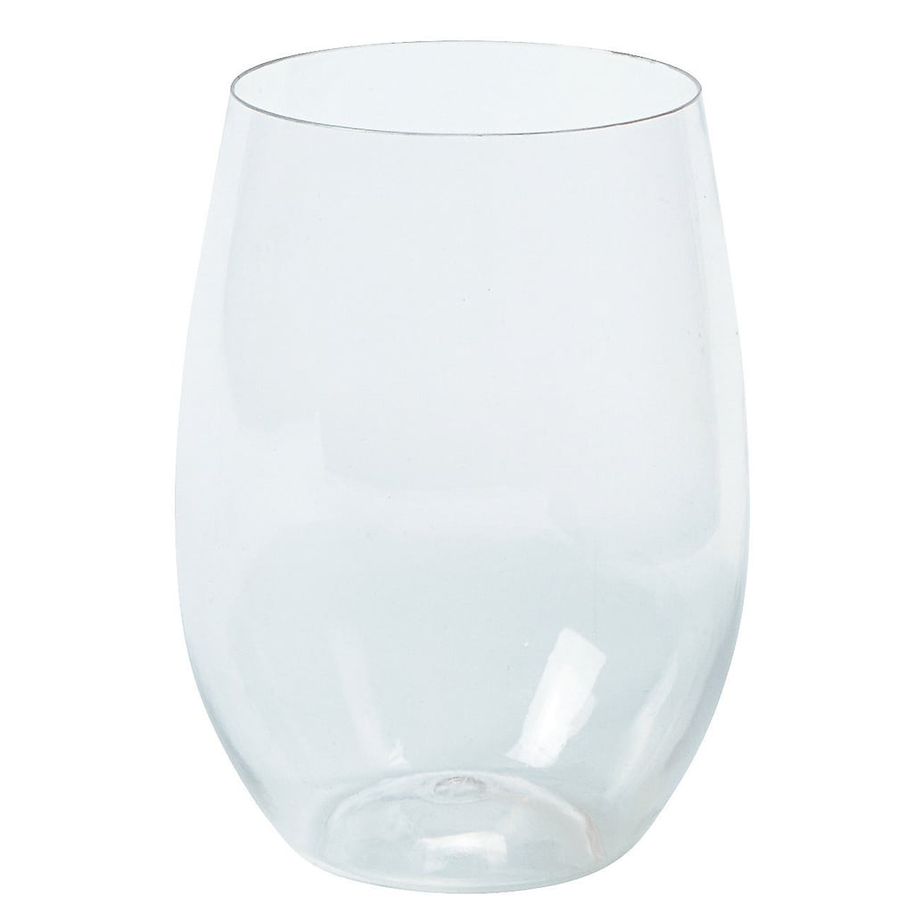 CLEAR STEMLESS PLASTIC WINE GLASSES - Marry Me Oriental Trading