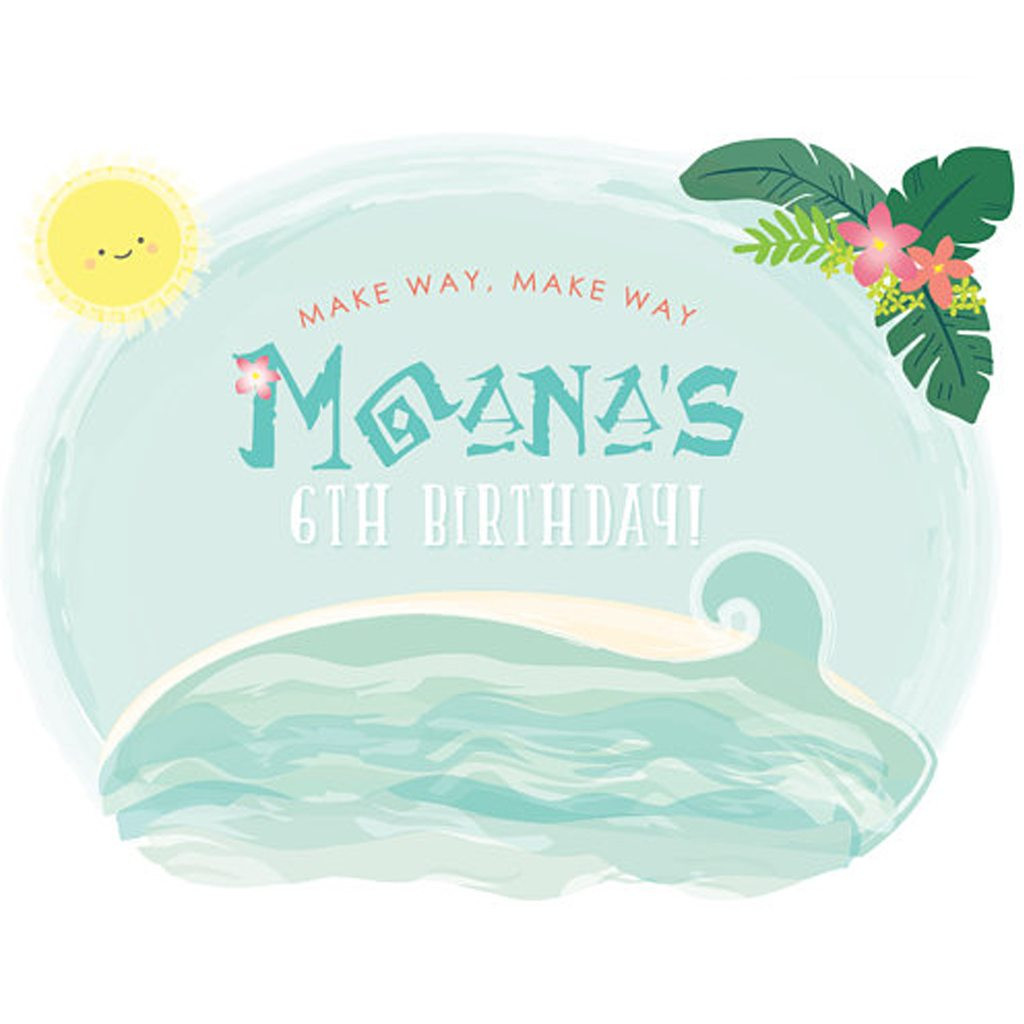 Tropical Ocean Dreams Party Backdrop - Moana Inspired custom PRINTABLE DOWNLOAD 4 ft Party Backdrop by Itsy Belle Studio