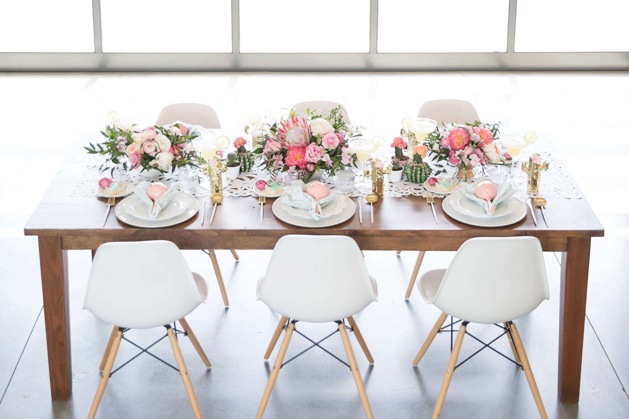Tablescape and Place Settings from Chic Floral Fiesta Styled by One Stylish Party | Black Twine