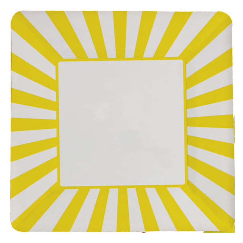 yellow striped square plates