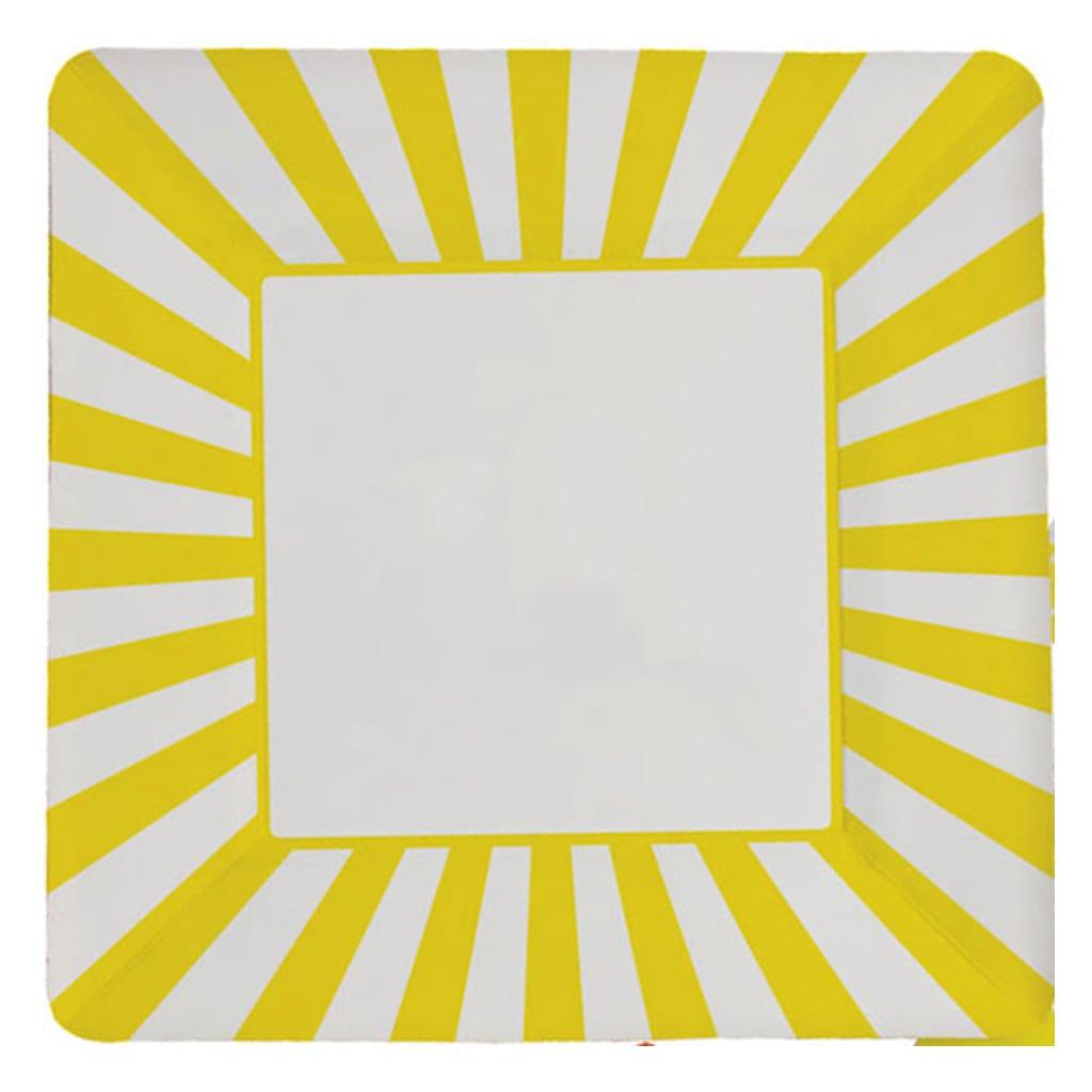 yellow striped square plates