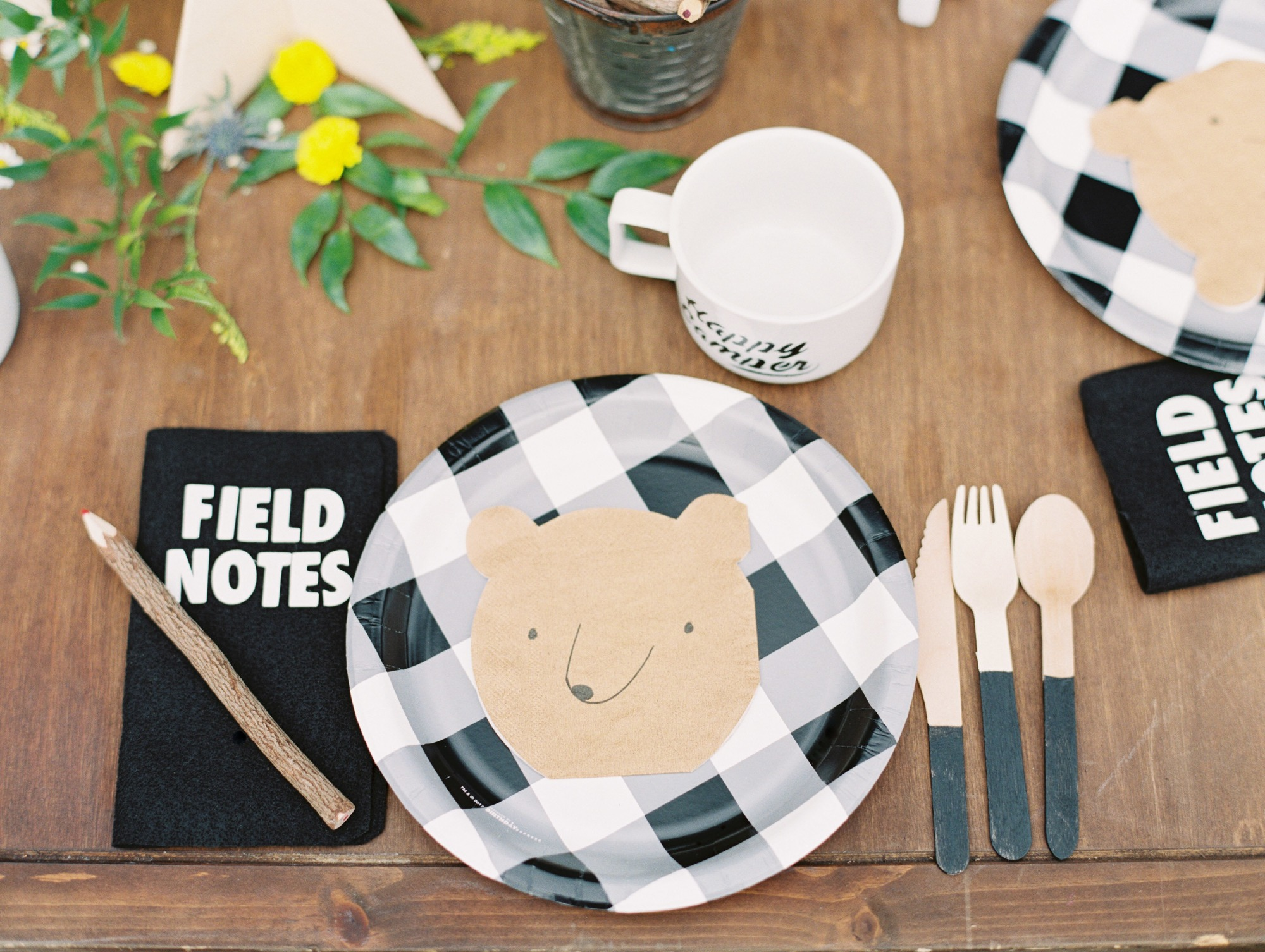 Bear Plates Place Setting from Classic Camping Party Styled by Deets & Things | Black Twine