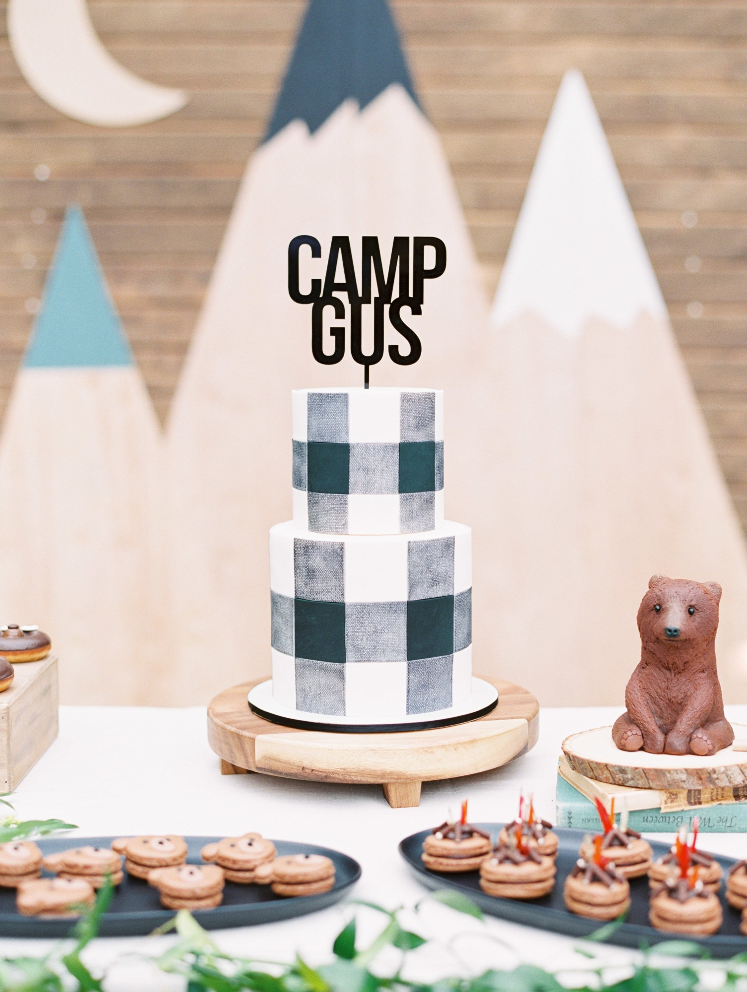 Birthday Cake Desserts from Classic Camping Birthday Party Styled by Deets & Things | Black Twine