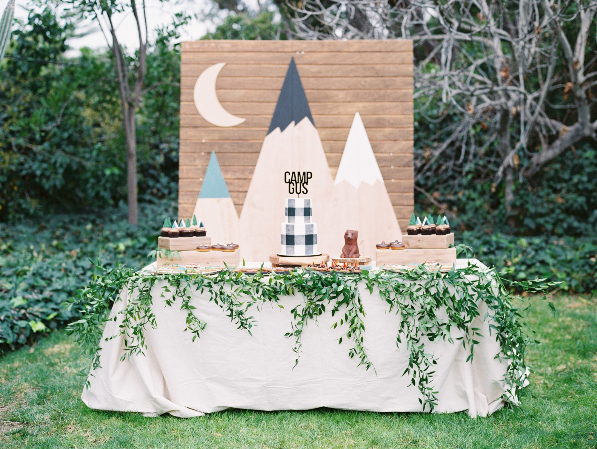 Birthday Dessert Table from Classic Camping Birthday Party Styled by Deets & Things | Black Twine