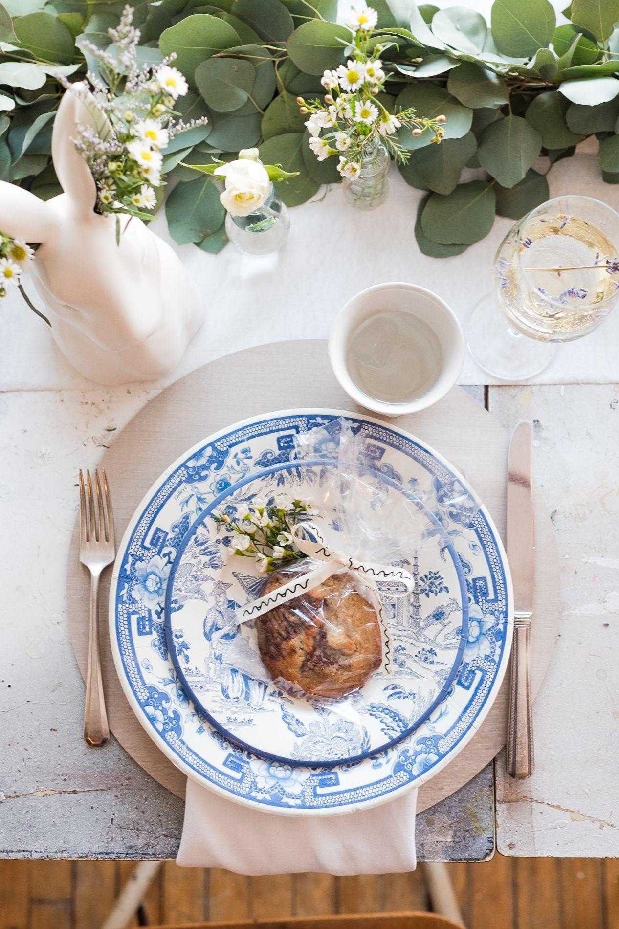 Caspari Blue & White Plates and Maman Chocolate Chip Cookie