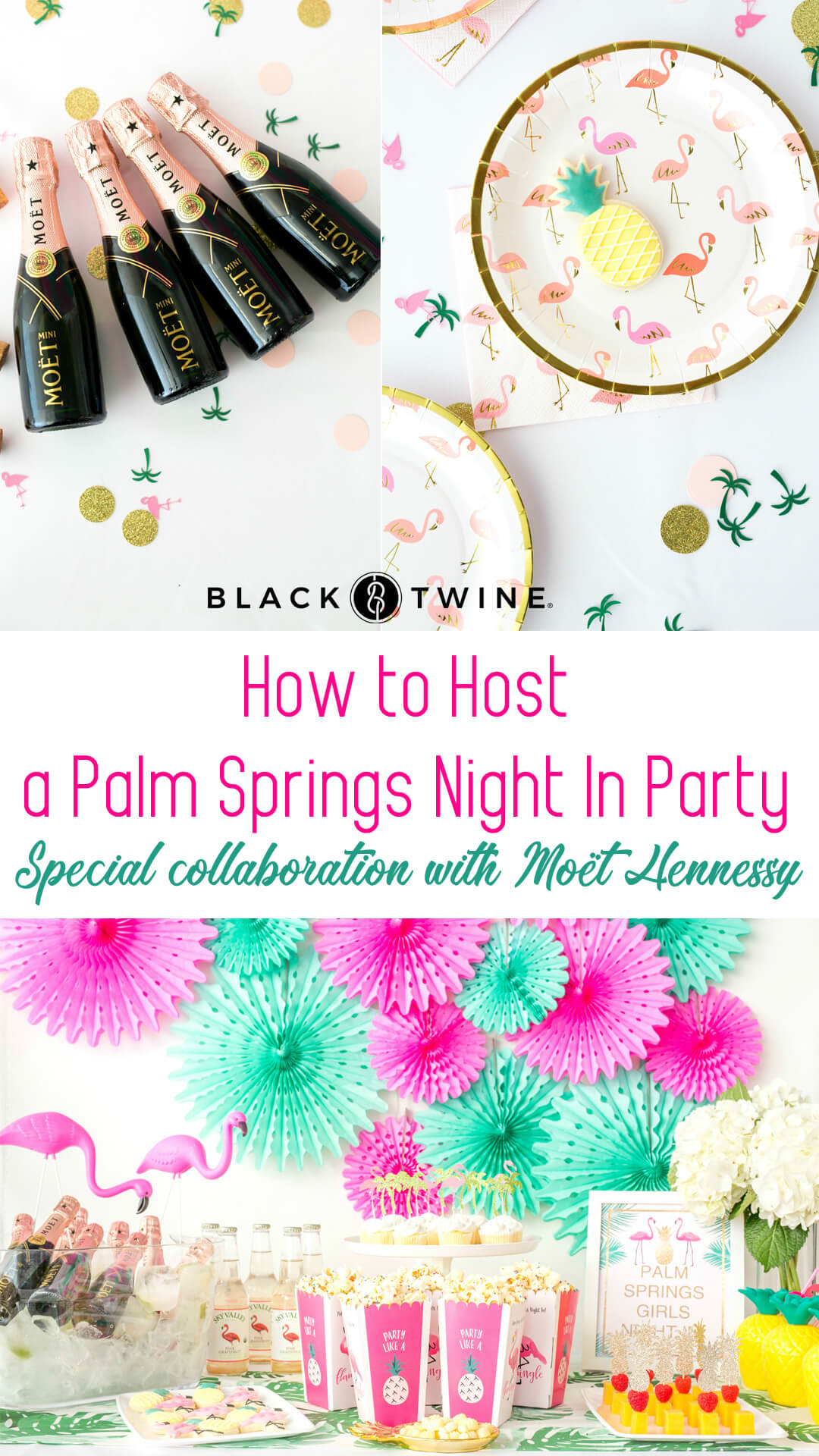 Flamingo Bottle Opener Thank You Favor from Palm Springs Girls Night In featuring Rose Mini Moet Champagne| Black Twine