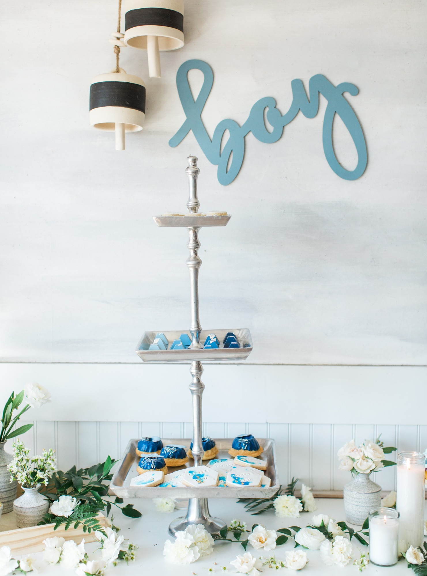 Dessert Tower from Boho Beach Baby Shower Styled by Seventh Bixel | Black Twine