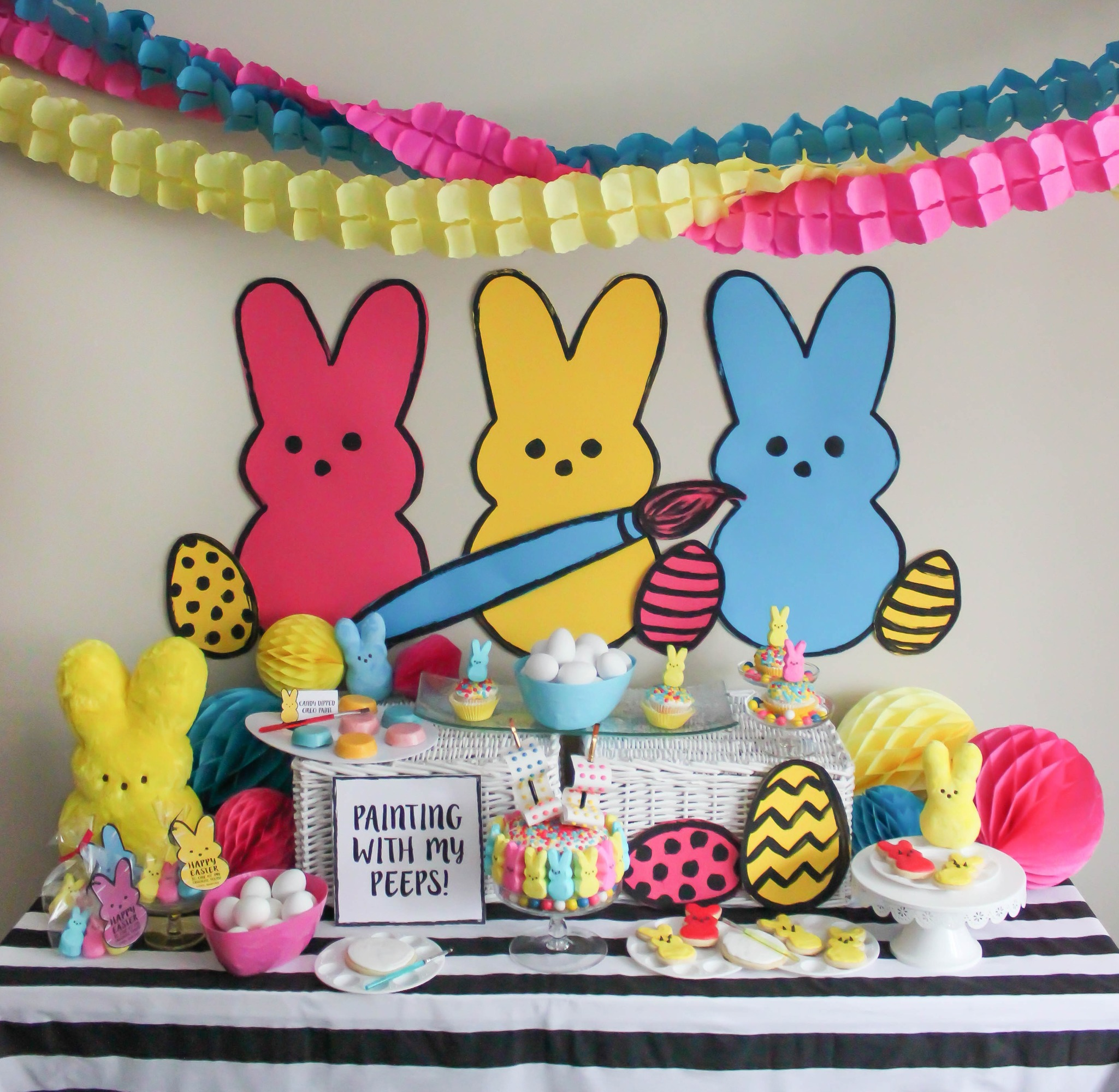 How to Style an Easter Dessert Table from Painting with my Peeps Easter Party Styled by Just Add Confetti | Black Twine
