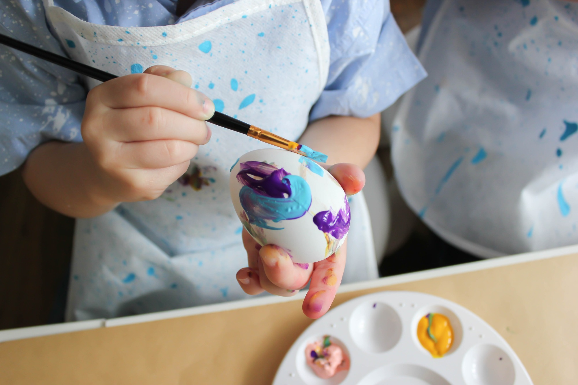 Easter Egg Painting from Painting with my Peeps Easter Party Styled by Just Add Confetti | Black Twine