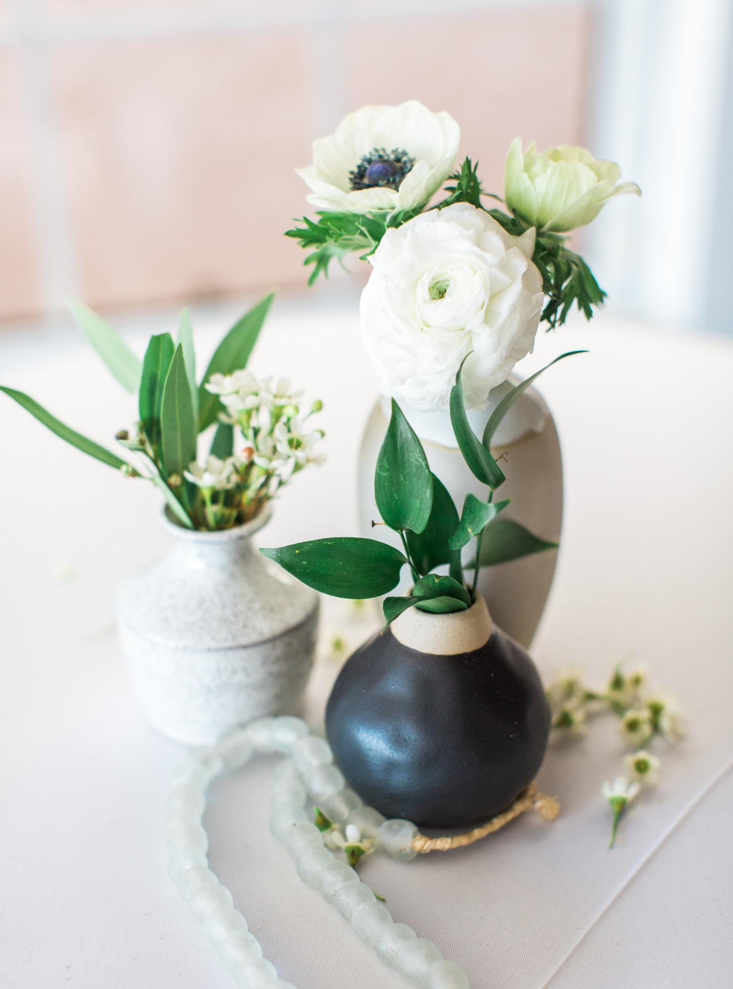 Flowers Vases from Beach Baby Shower Styled by Seventh Bixel | Black Twine