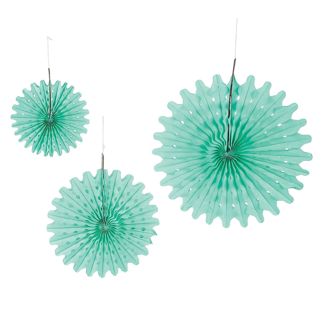 mint green tissue fans