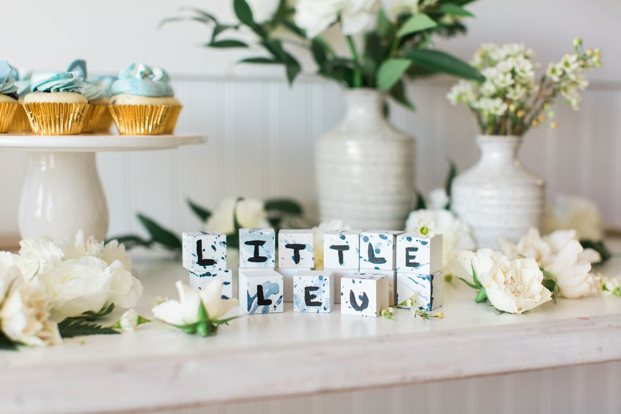Painted Blocks for Boho Beach Baby Shower Styled by Seventh Bixel | Black Twine