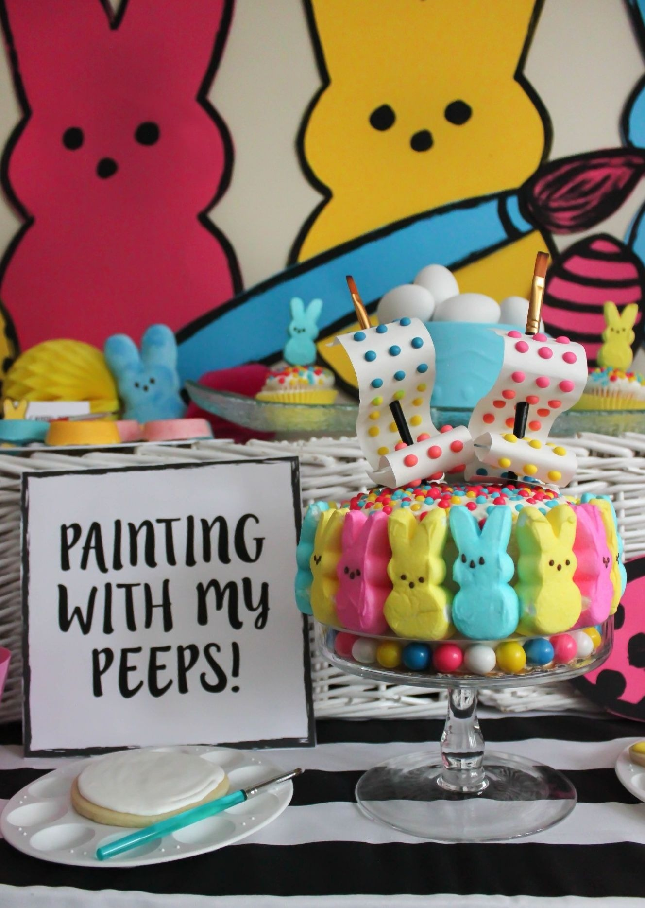 DIY Peeps Easter Cake from Painting with my Peeps Easter Party Styled by Just Add Confetti | Black Twine