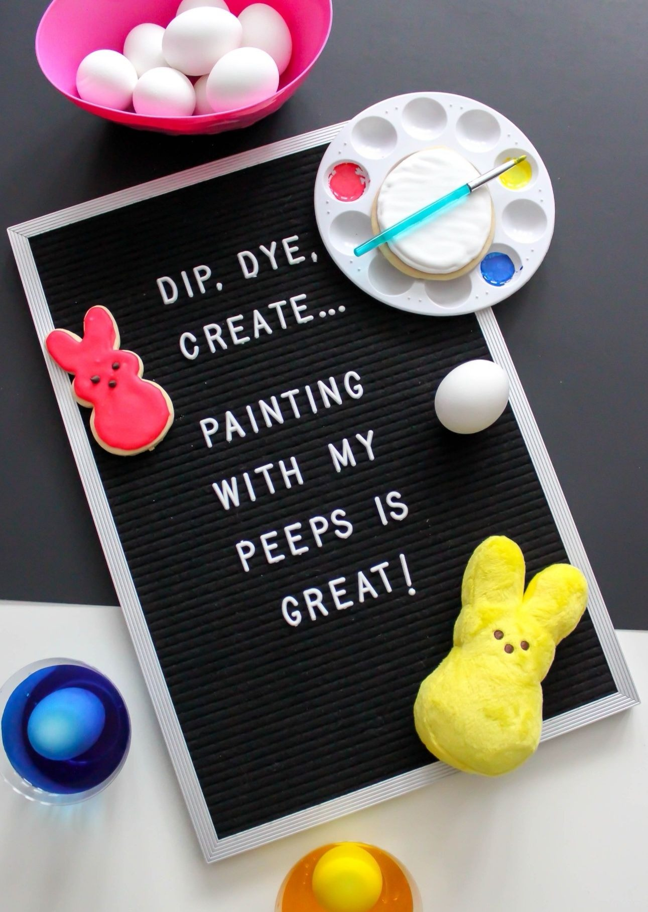 Easter Peeps Letterboard from Painting with my Peeps Easter Party Styled by Just Add Confetti | Black Twine