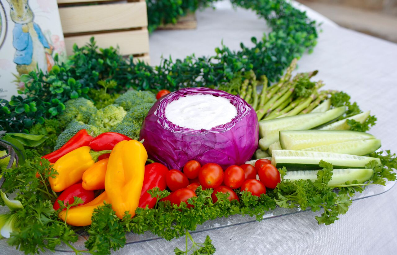 Vegetable Crudite Party Platter with Dip for Peter Rabbit Party