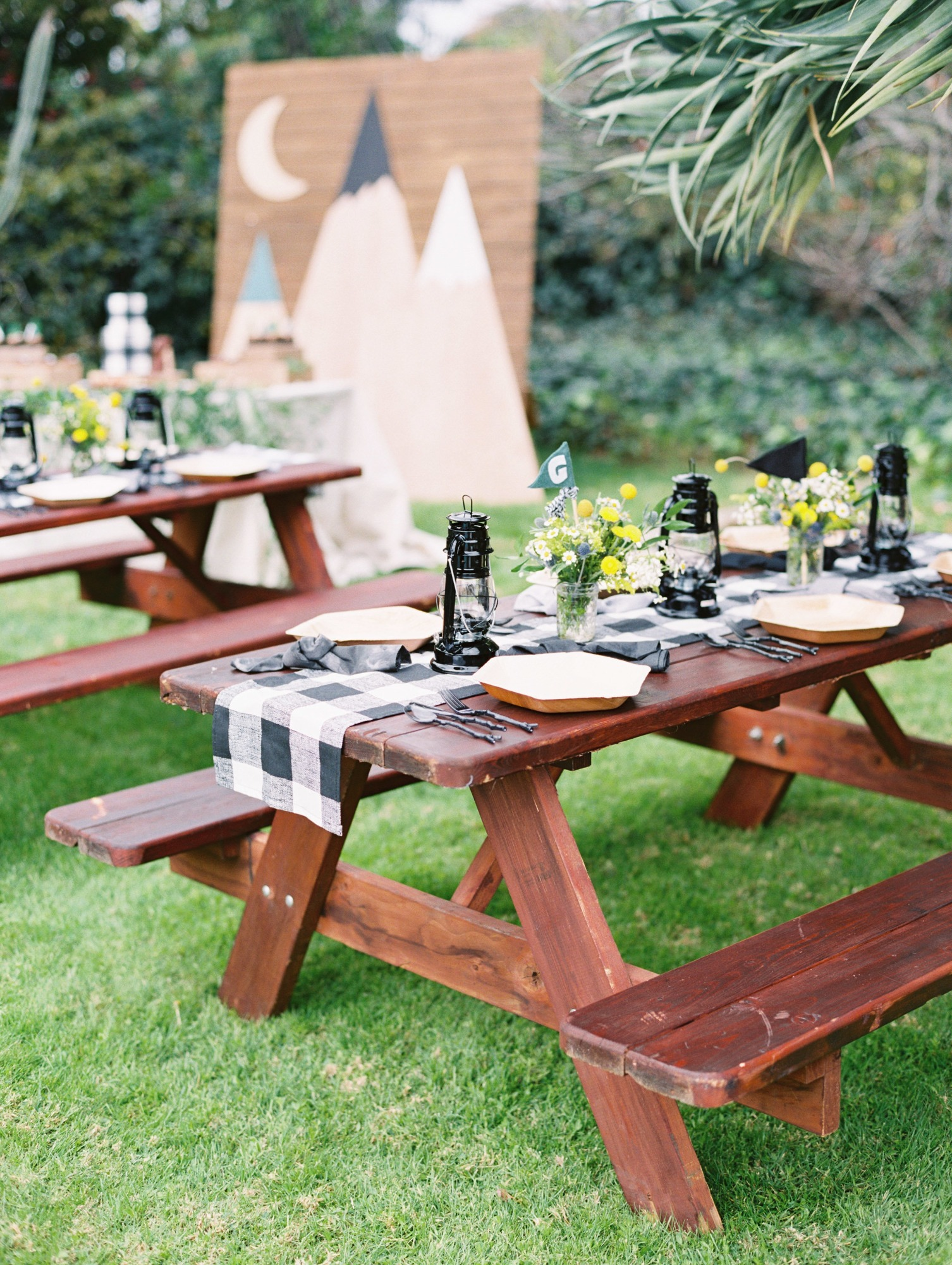 Picnic Benches from Classic Camping Birthday Party Styled by Deets & Things | Black Twine