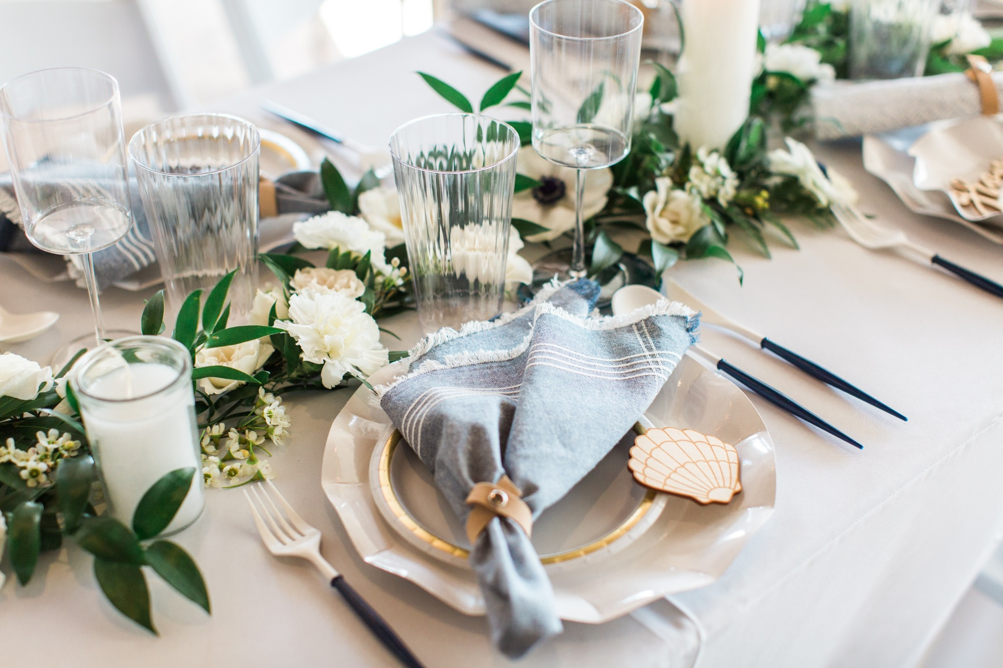 Tablescape and Place Setting from Beach Baby Shower Styled by Seventh Bixel | Black Twine