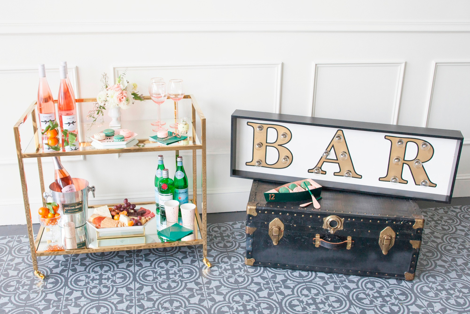 Bar Cart from Art Deco Boathouse Bridal Shower Styled by Fern & Maple | Black Twine