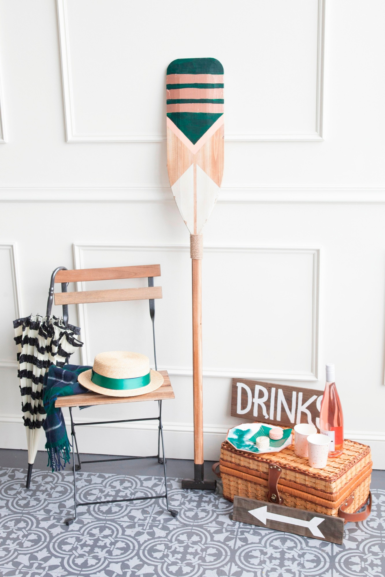 Chairs Oar Picnic Basket from Art Deco Boathouse Bridal Shower Styled by Fern & Maple | Black Twine