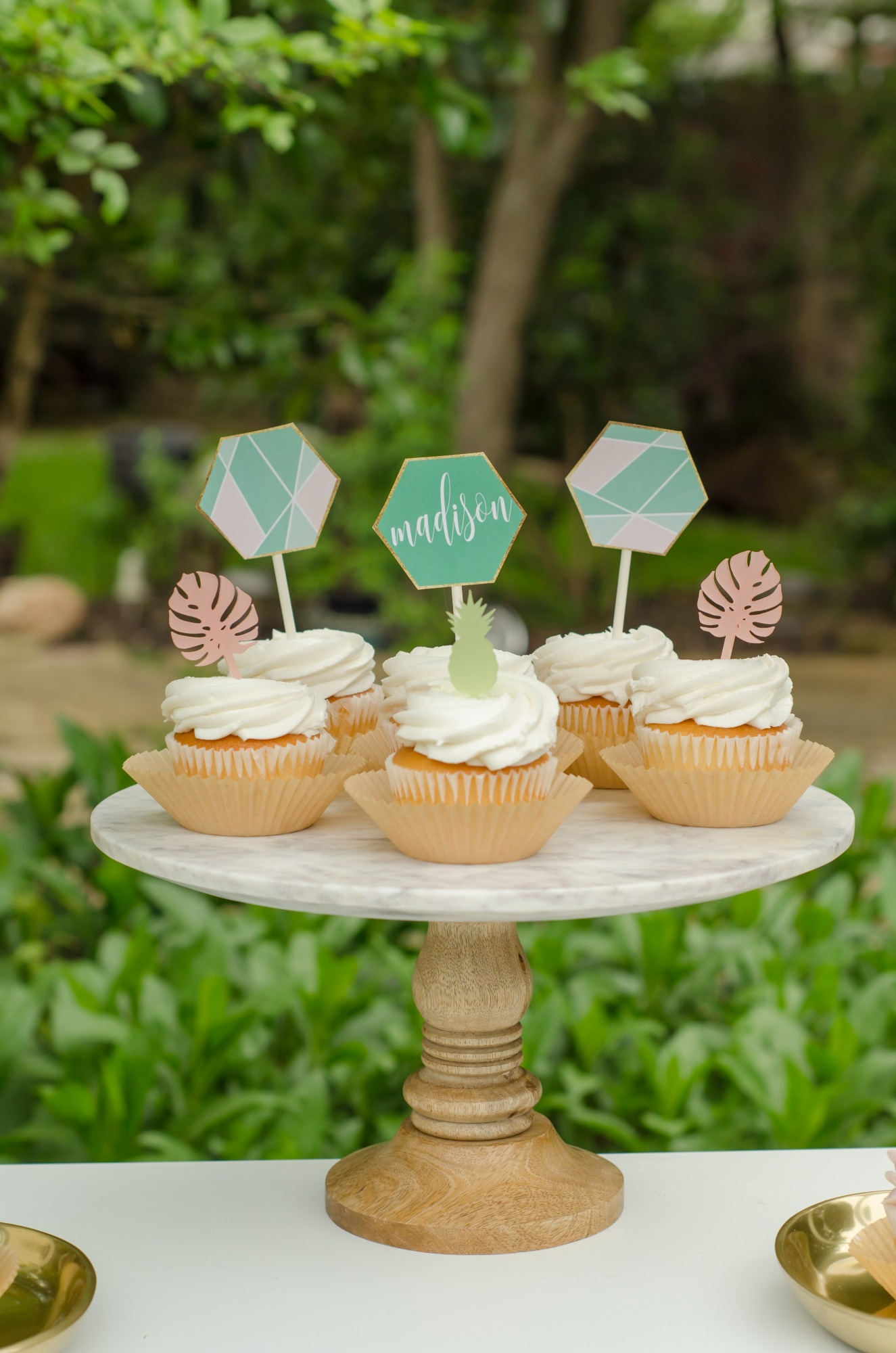 Cupcakes from Tropicale Bridal Shower Featuring Daydream Society | Styled by Mint Event Design | Black Twine