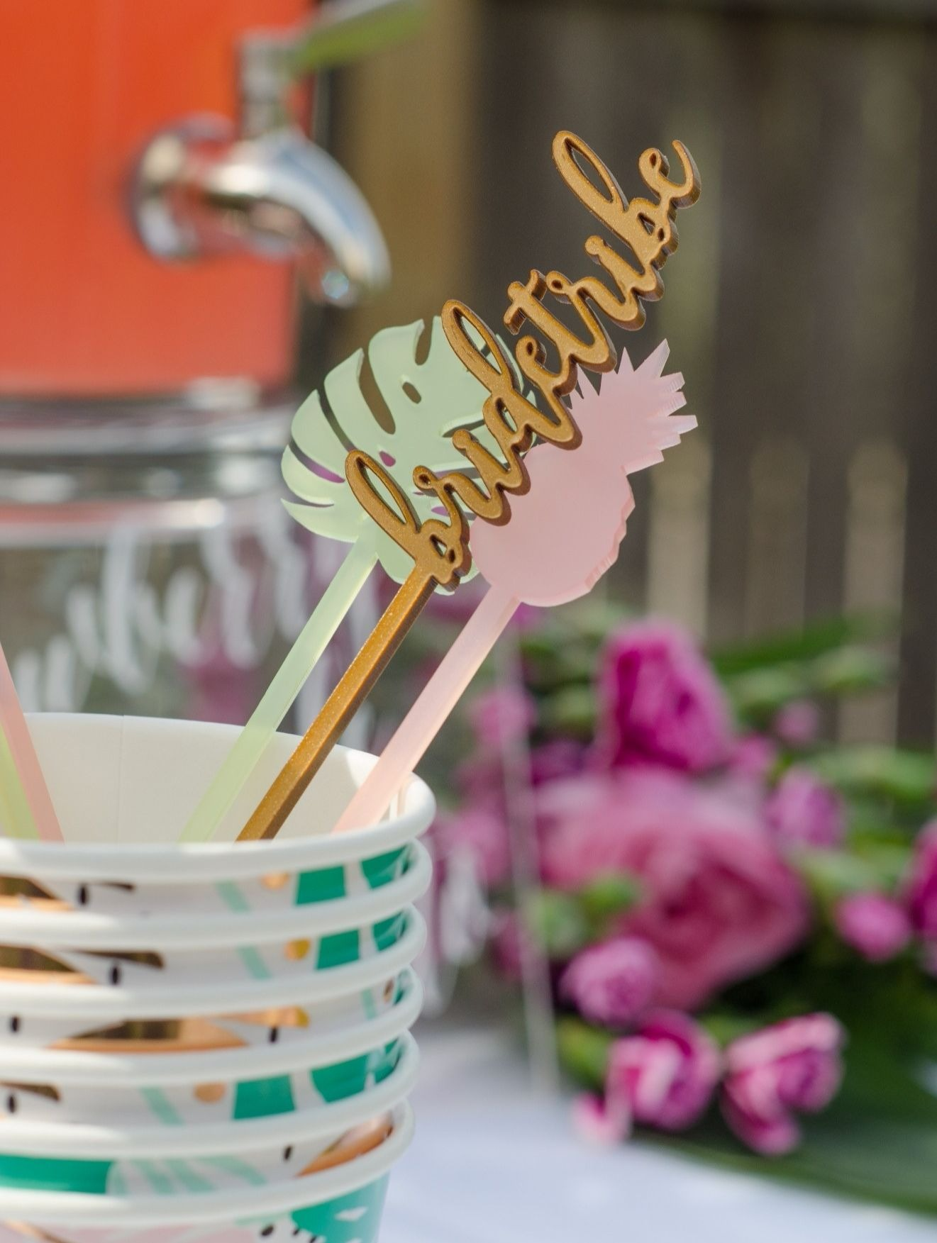 Bride Tribe Drink Stirrers from Tropicale Bridal Shower Featuring Daydream Society | Styled by Mint Event Design | Black Twine