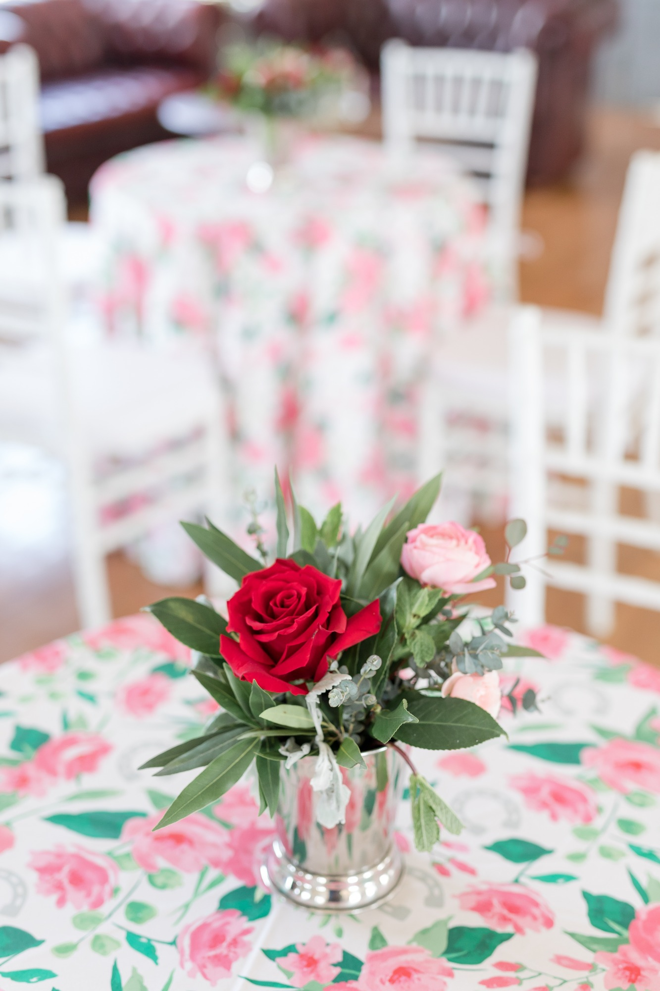 Tablecloth and Flowers from Off to the Races Derby Party Styled by Cherry Blossom Events | Black Twine
