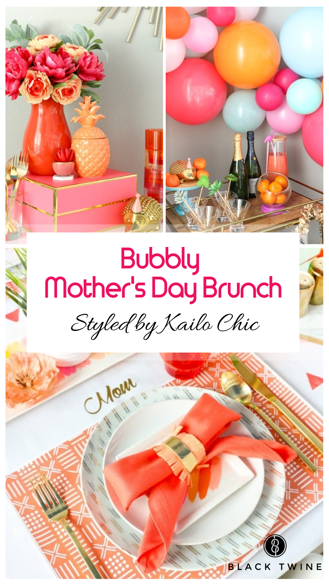 How to Host a Bubbly Mother's Day Brunch Styled by Kailo Chic | Black Twine