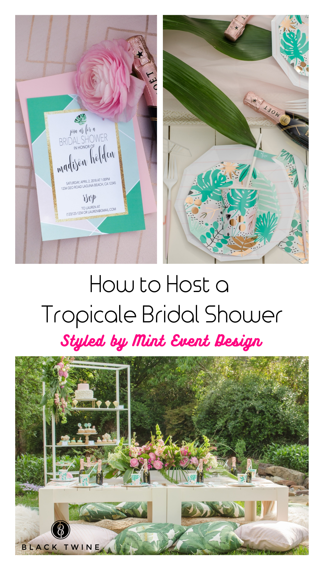 How to Host a Tropicale Bridal Shower Featuring Daydream Society | Styled by Mint Event Design | Black Twine
