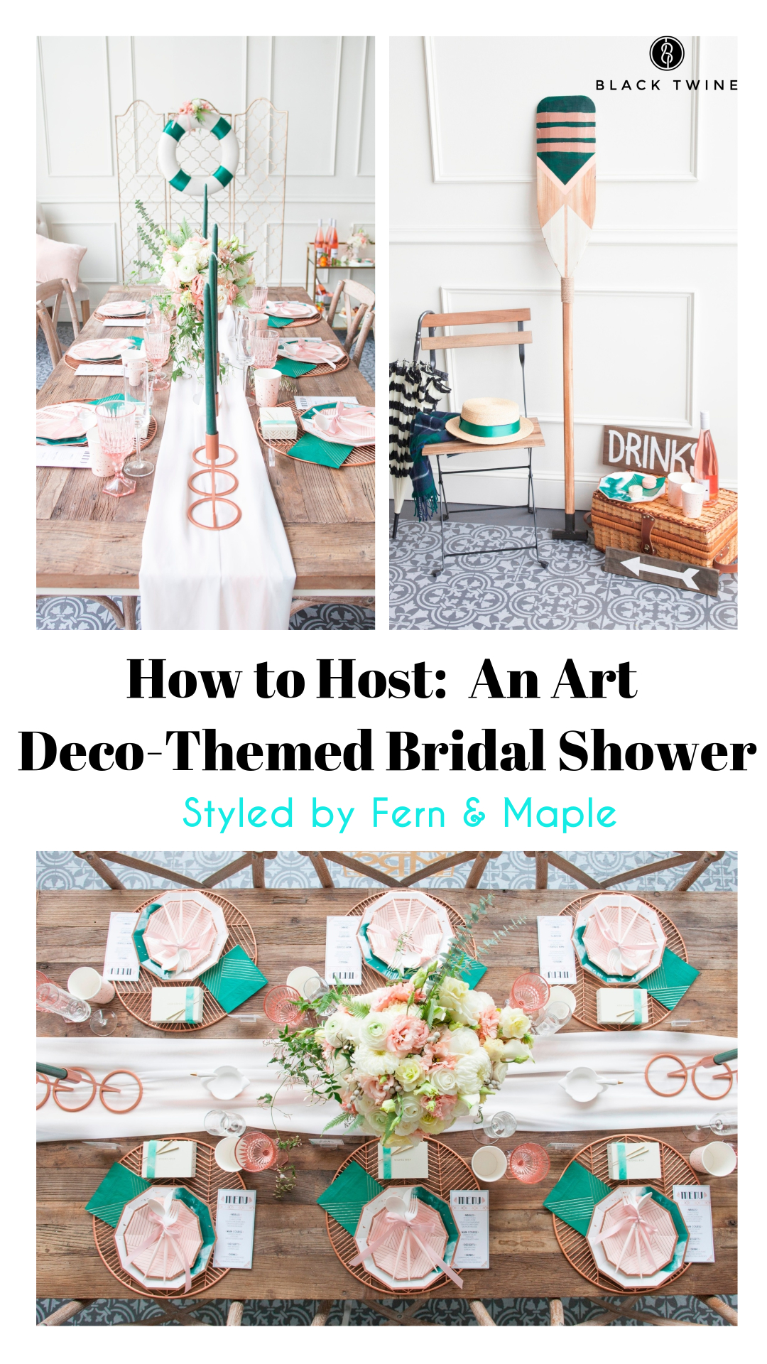 How to Host an Art Deco Boathouse Bridal Shower Styled by Fern & Maple | Black Twine