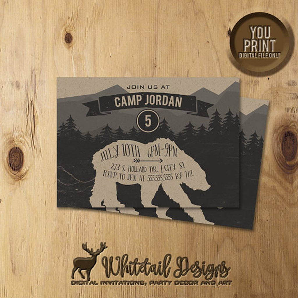 Camping Birthday Invitation Bear, Camp Party Invite, Bear Camping Invitation Printable by Whitetail Designs