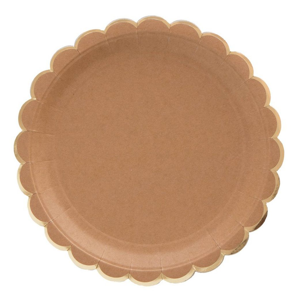 Small Kraft Scalloped Plates by Meri Meri