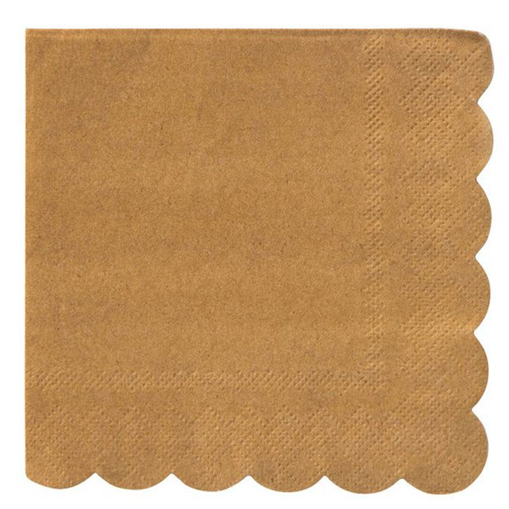Small Kraft Scalloped Napkins by Meri Meri