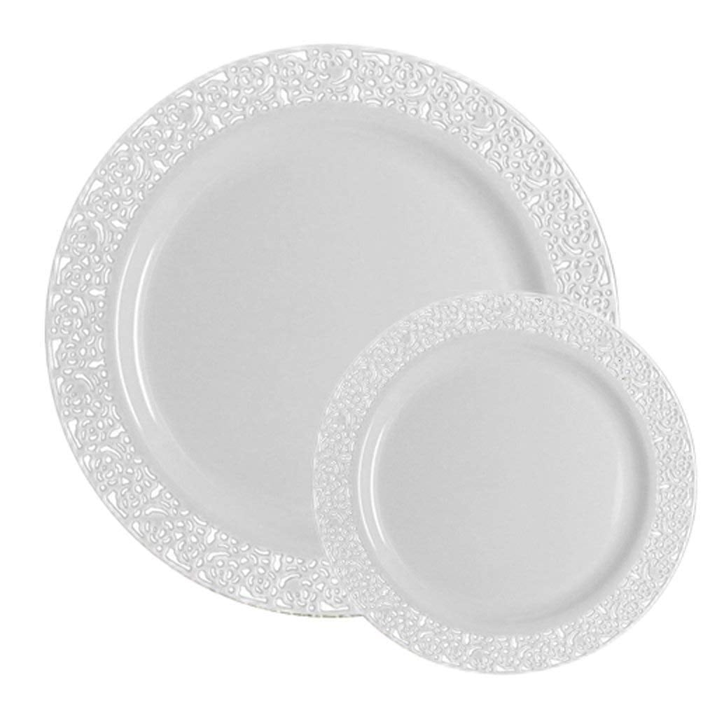 White Lace Dinner and Salad Plates