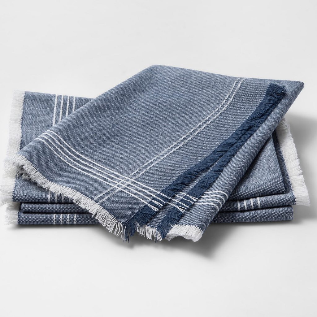 Metallic Blue Stripe Napkin
