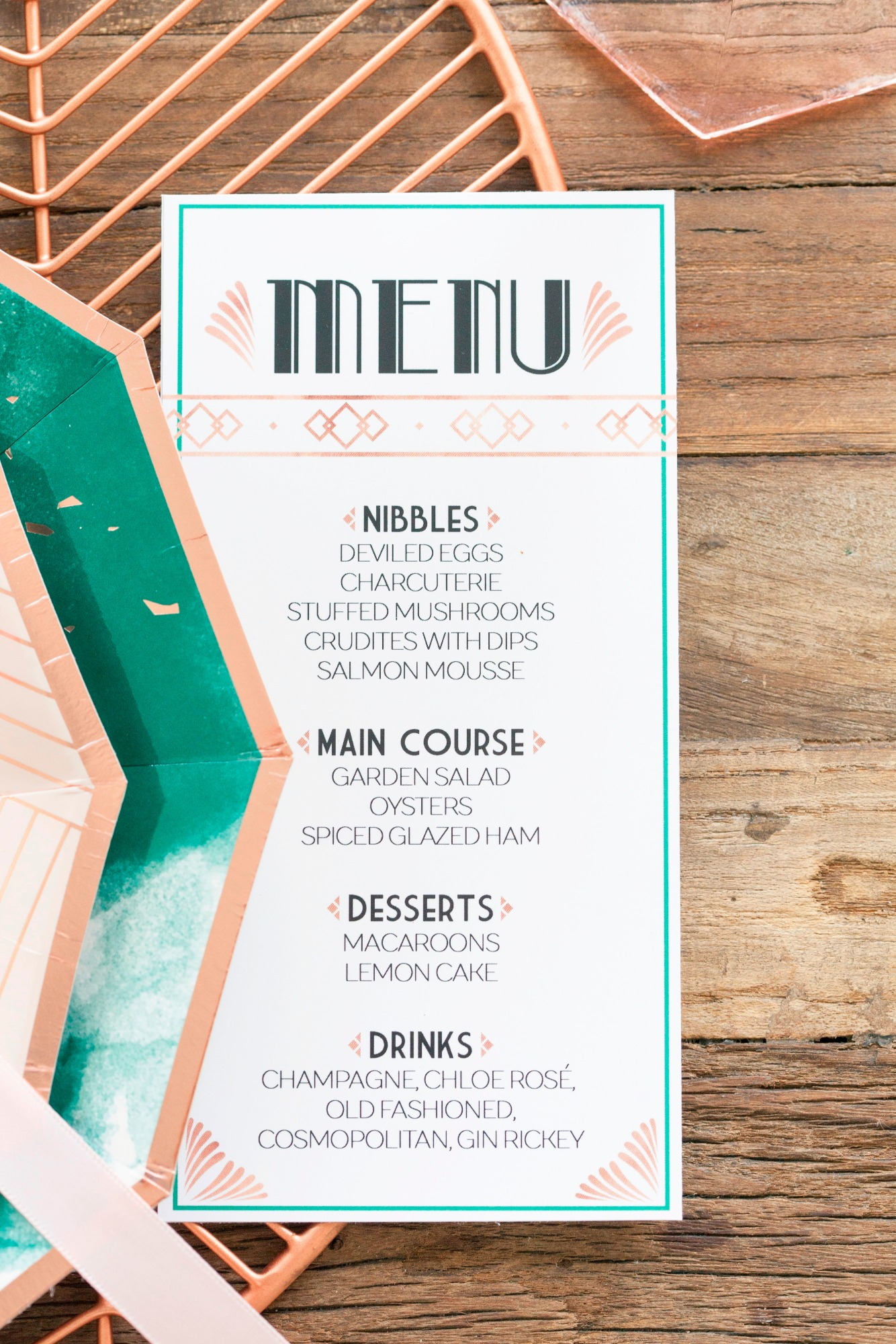 Menu from Art Deco Boathouse Bridal Shower Styled by Fern & Maple | Black Twine