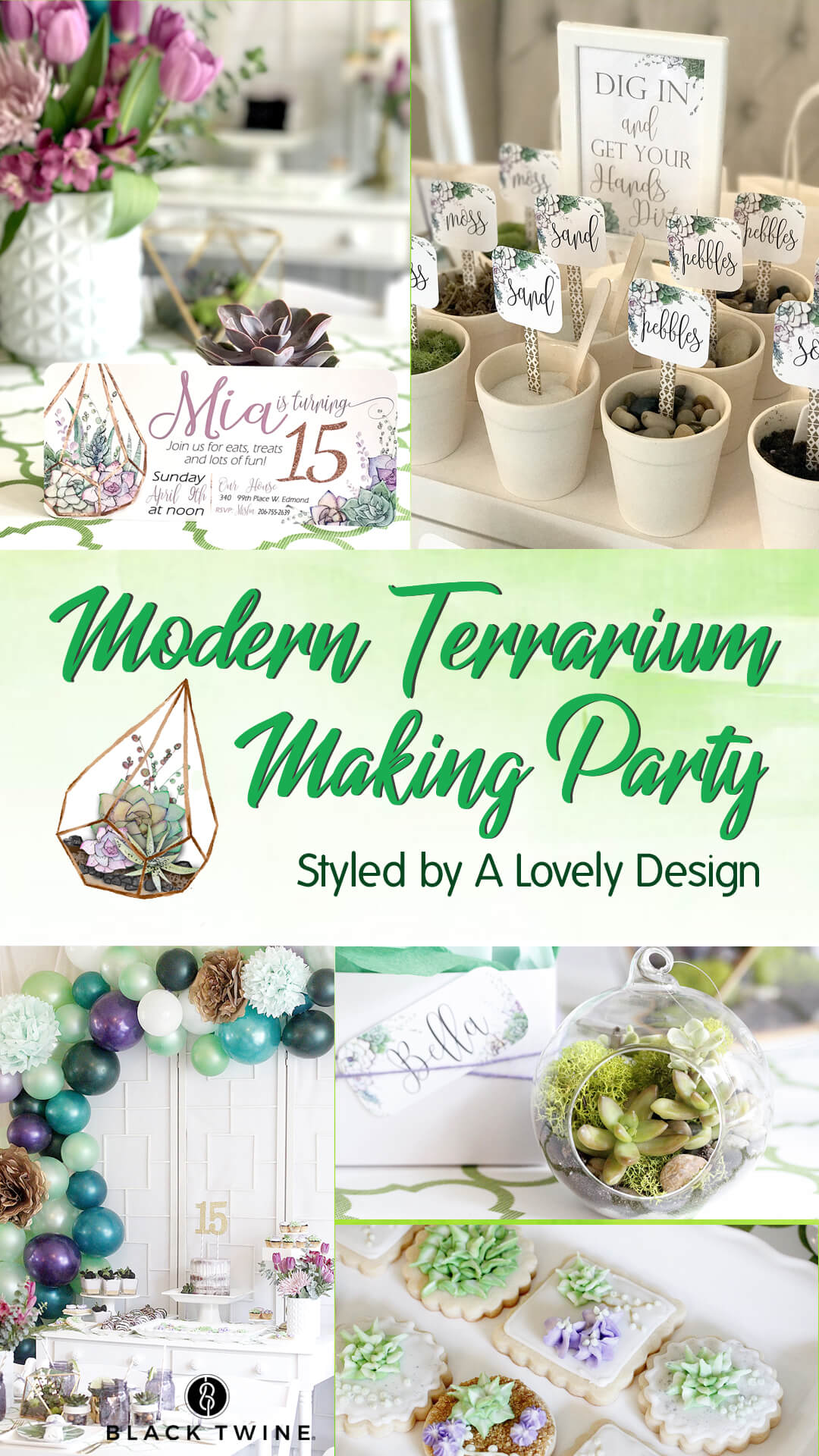 Modern Terrarium Making Party styled by A Lovely Design   Black Twine