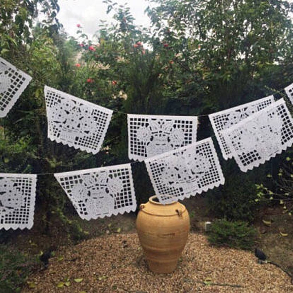 Mexican papel picado banner, all white floral bunting, cut tissue paper or plastic, fiesta party supplies, party decorations, wedding decor by Mesa Chic