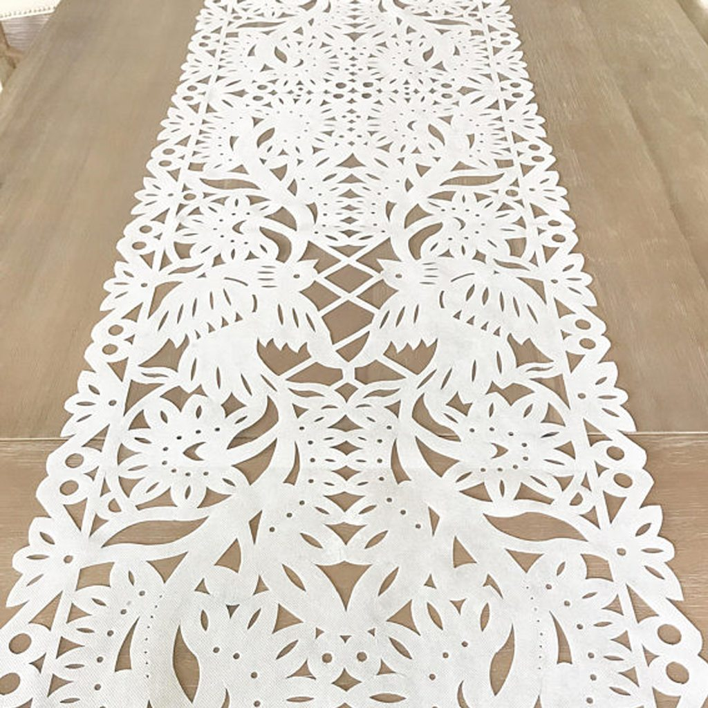 Mexican papel picado table runner, WHITE synthetic fabric, fiesta decorations, Cinco de Mayo party supplies, table topper, talavera lace by Mesa Chic