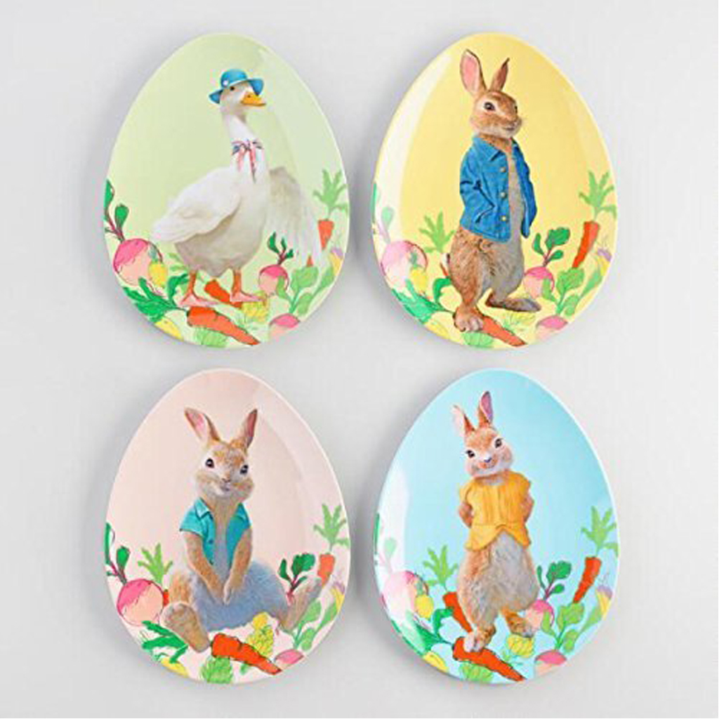 Peter Rabbit Melamine Egg Shaped Plates Set Of 4