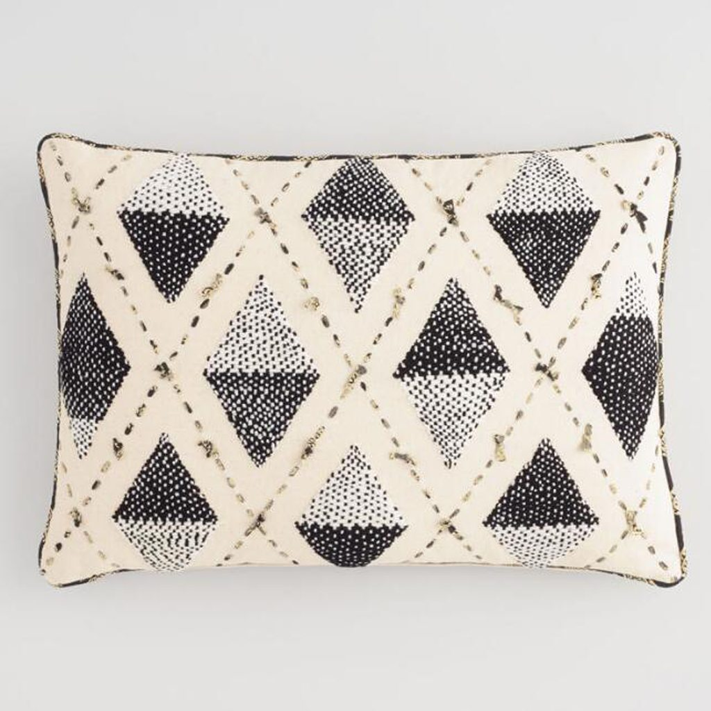 Black And Ivory Embroidered Diamond Lumbar Pillow - Cost Plus World Market