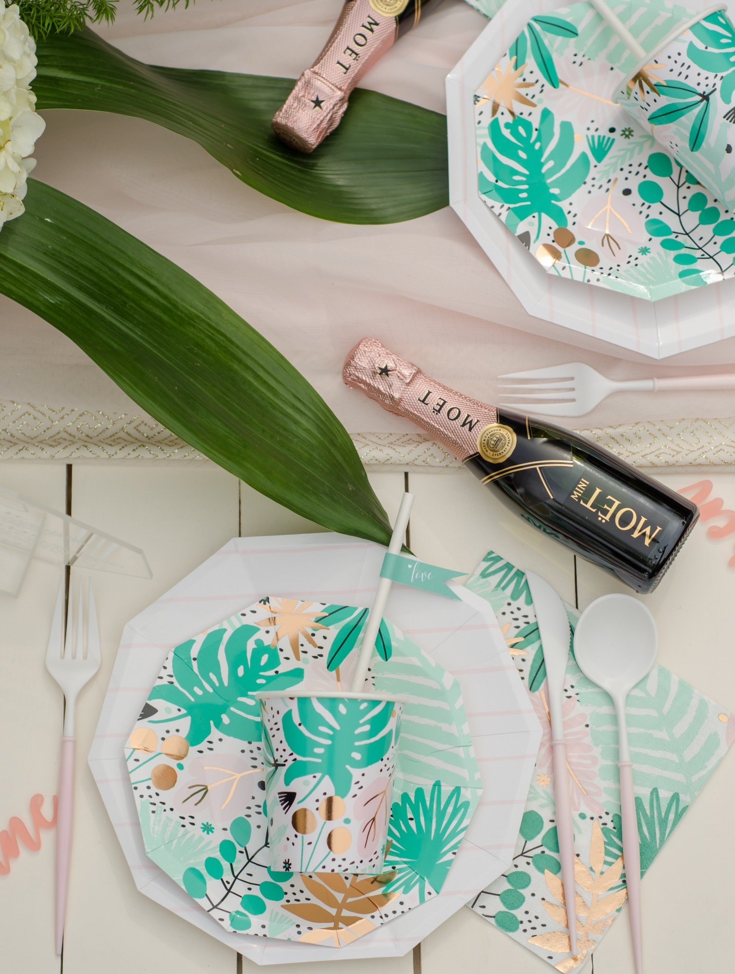 Place Setting Plates Cups from Tropicale Bridal Shower Featuring Daydream Society   Styled by Mint Event Design   Black Twine