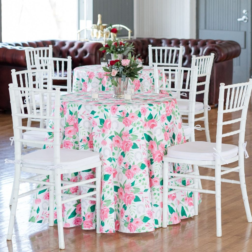 """Round Tablecloth in """"Run for the Roses"""" by sarah_treu from Roostery"""