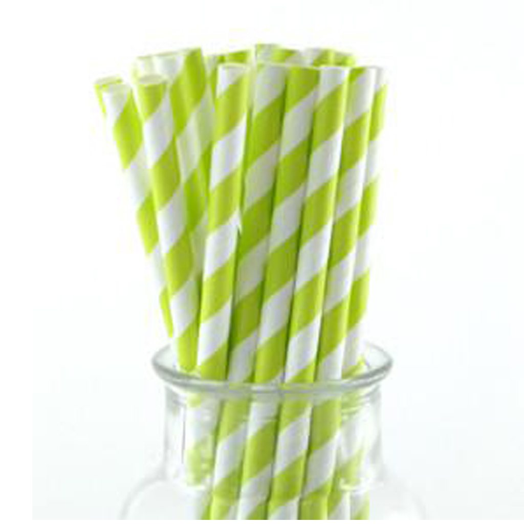 Just Sip It Biodegradable Vintage Paper Drinking Straws, Green, Pack of 50