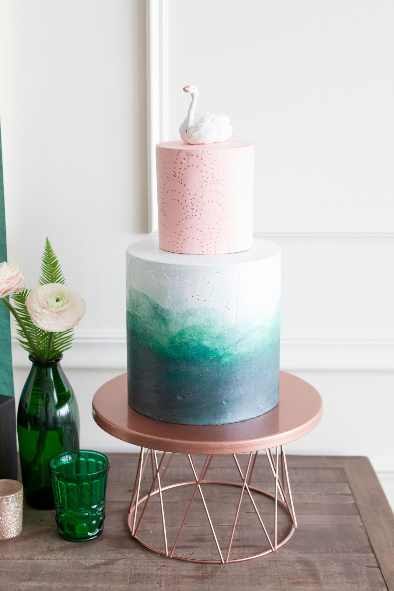 Swan Cake from Art Deco Boathouse Bridal Shower Styled by Fern & Maple   Black Twine
