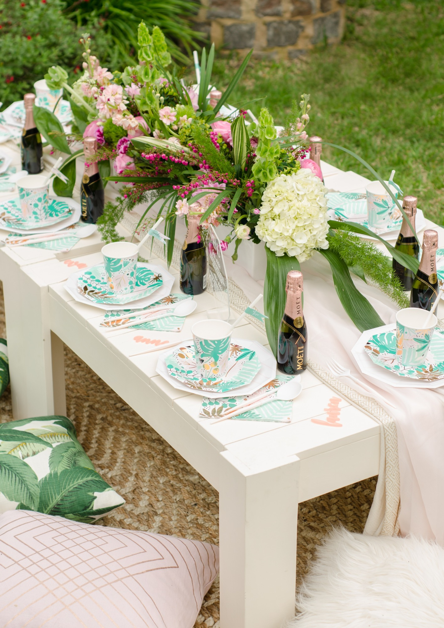 Tablescape from Tropicale Bridal Shower Featuring Daydream Society | Styled by Mint Event Design | Black Twine