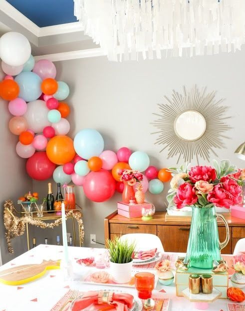 Tablescape and Balloons from Bubbly Mother's Day Brunch Styled by Kailo Chic | Black Twine