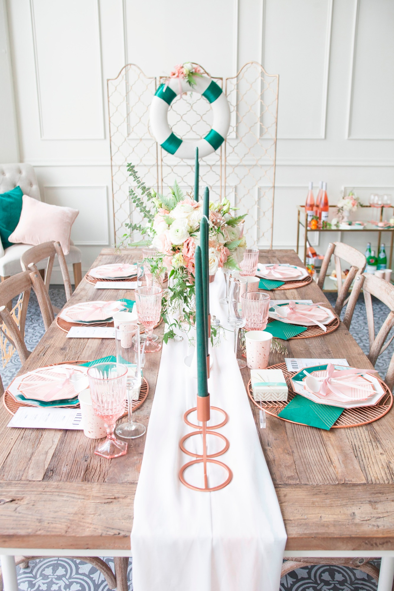 Tablescape from Art Deco Boathouse Bridal Shower Styled by Fern & Maple   Black Twine