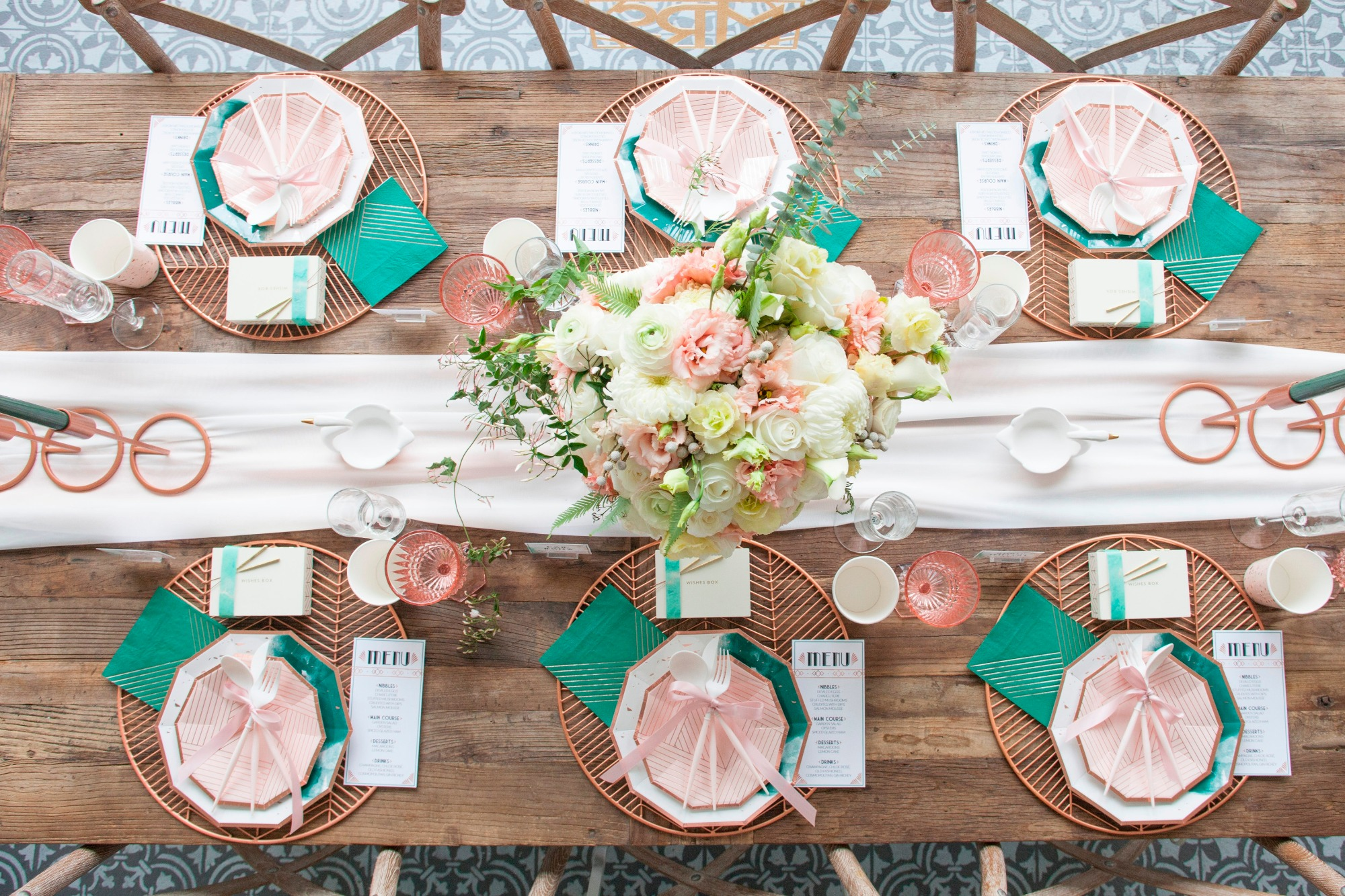 Tablescape from Art Deco Boathouse Bridal Shower Styled by Fern & Maple | Black Twine